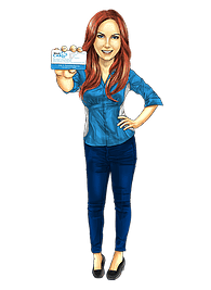 Cartoon redhead lady holding Medcard