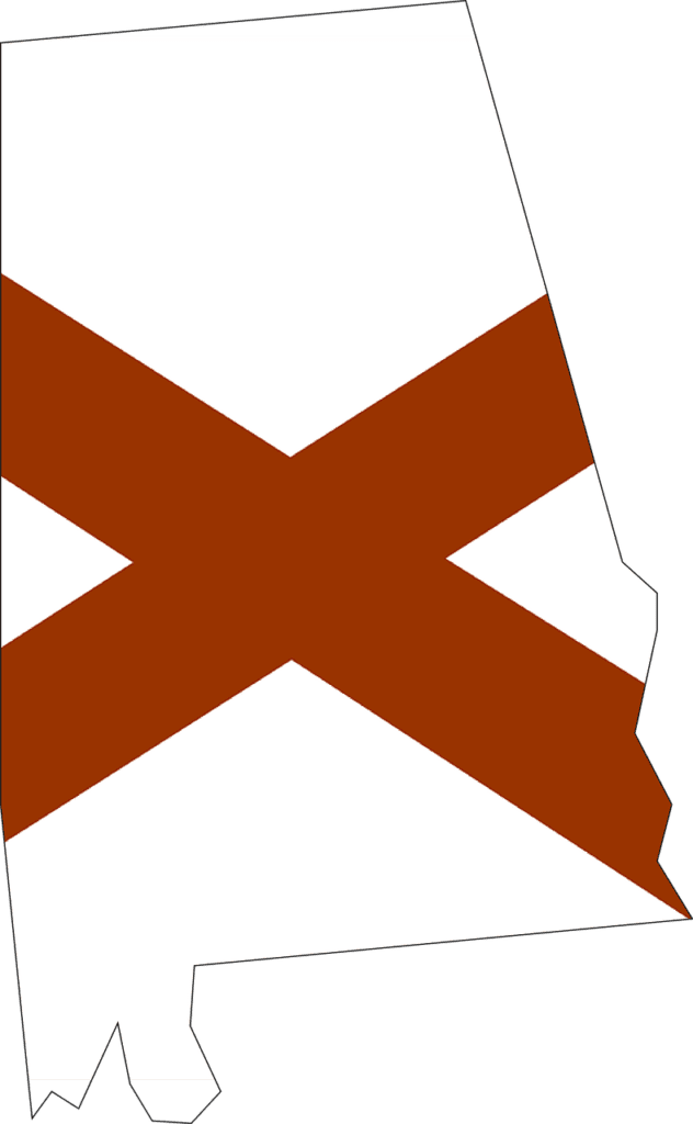 Alabama flag in state