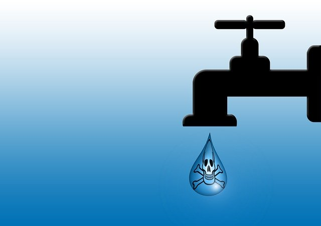 Contaminated Water Faucet with virus drop