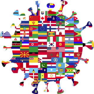 COVID cell made of World flags