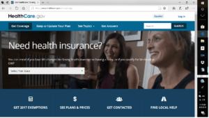 Healthcare.gov Home Screen